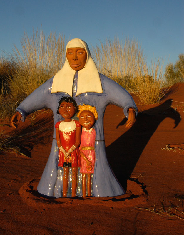 Stories of the stolen generations. Uluru, Australia. Sculptures by Hazel McKinnon. Stories collected and shared by Bob Randall.