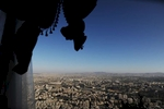 A view of Damascus from Jebel Al Qassioun, normally a place of picnicking and socializing, is currently deserted.