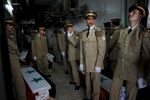 The Syrian army held funeral services for 42 soldiers at the Tishreen Military hospital on Saturday June 23, 2012. Another eight remained in the morgue. In recent weeks 100 Syrian soldiers on average are being killed in the the conflict.