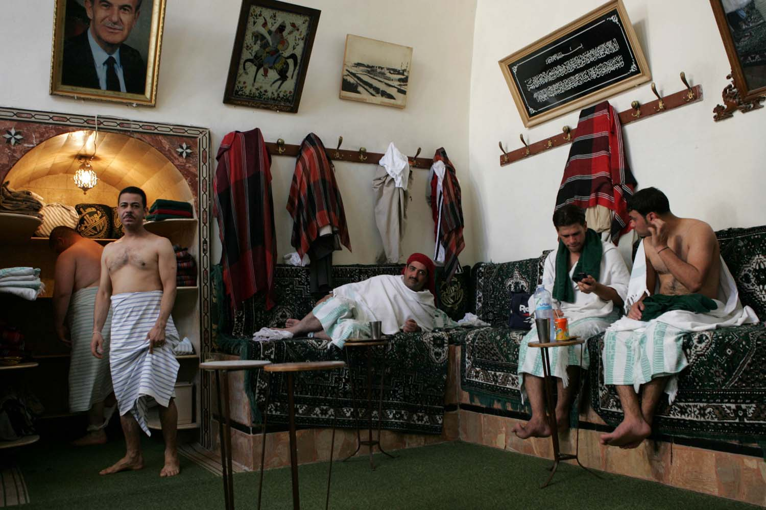 Men relax at one of the city's oldest Hammam in the Old City.