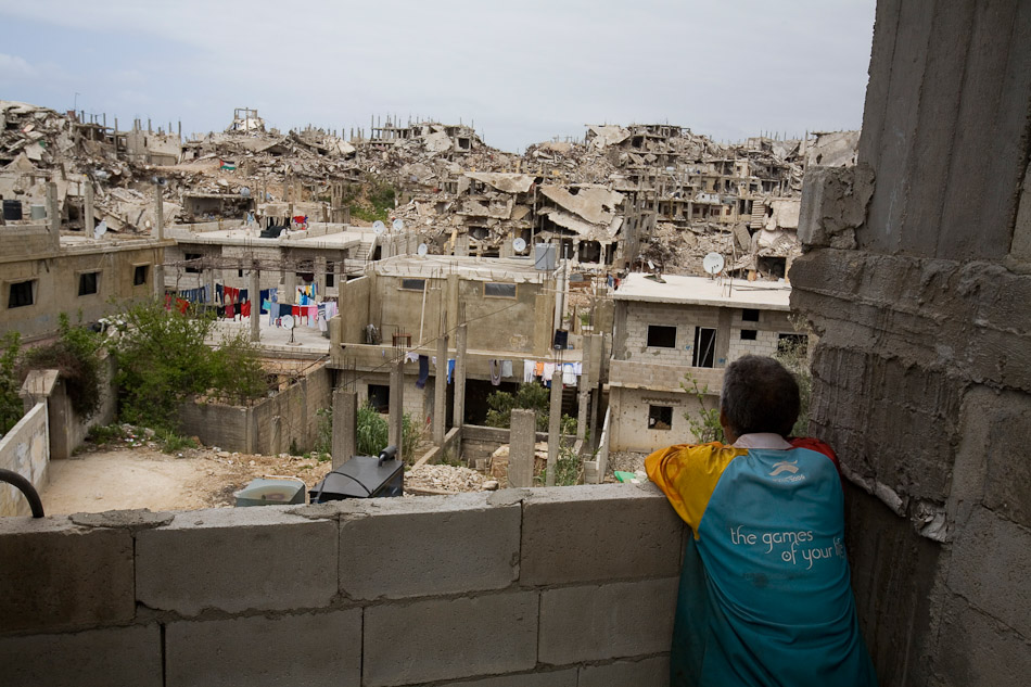 The majority of the 30,000 Palestinian refugees who live in Naher al Bared were forced to flee the refugee camp durin ght emilitary operation. Nearly one year later many of the residents had returned to their homes, but were living against the rubble without electricity and running water.
