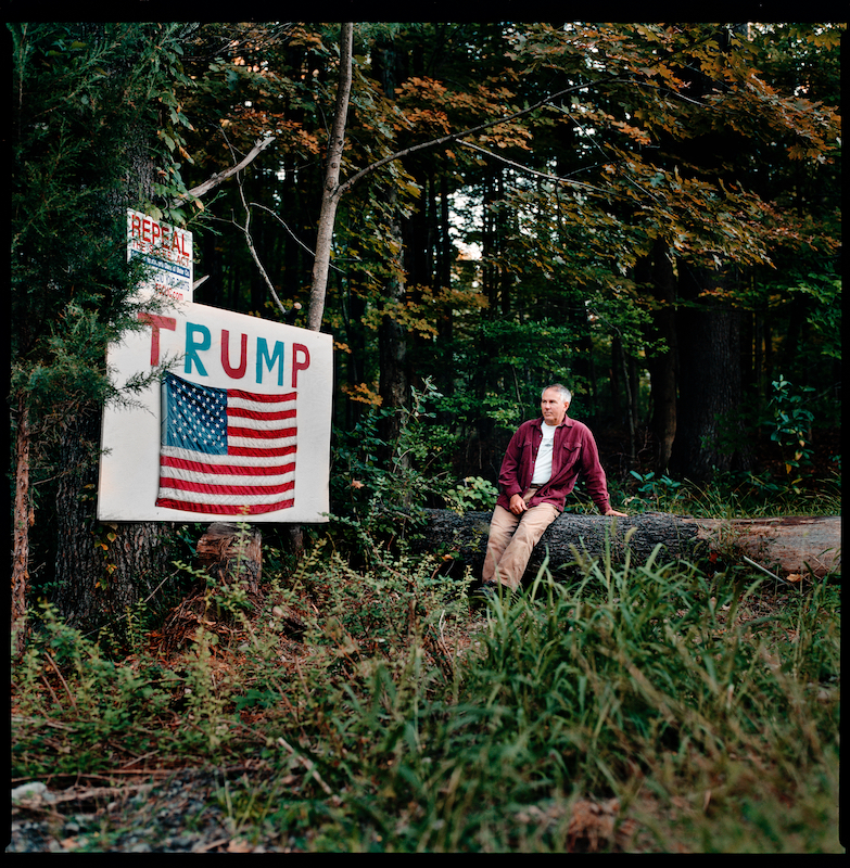 Bill Hornbeck, Boiceville, NY. October 3rd 2016.Sign built in September 2016. Left-over plywood, paint, flag. Feels strongly about what is going on in this country and that change is needed.