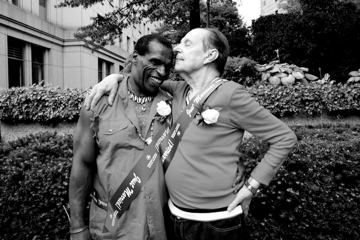 Michael J., 55 and Michael R., 81, embrace after getting married at the City Clerk's office, on the first day New York State's Marriage Equality Act goes into effect. They have been together 30 years.New York, NY, July 24, 2011