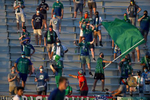 Socially distanced Hartford Athletic fans cheer their team on against Loudon United FC at Dillon Stadium.