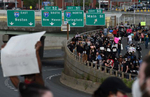 Hartford, CT - 6/1/20 - Protesters take over Route I-84 Monday evening demanding action against police violence against people of color. Photo by Brad Horrigan | bhorrigan@courant.com