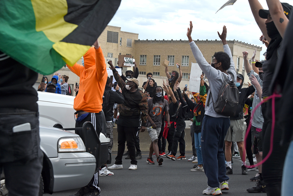 Hartford, CT - 6/1/20 - Protesters block Route I-84 Monday evening demanding action against police violence against people of color. Photo by Brad Horrigan | bhorrigan@courant.com