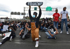 Hartford, CT - 6/1/20 - David Walker, of Hartford, and other protesters block Route I-84 Monday evening demanding action against police violence against people of color. Photo by Brad Horrigan | bhorrigan@courant.com