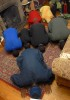 The Abdussaburs pray in their living room on the final night of Ramadan.