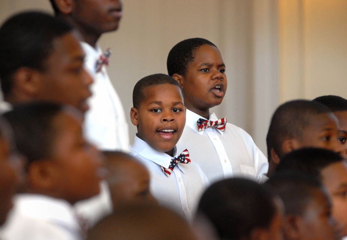 Unity Boys Choir of New Haven sing during a Veterans Day memorial service at Center Church  in New Haven.