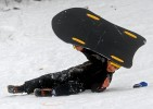 Qasim Farid, 10, sleds at Pine Rock Park in Hamden.