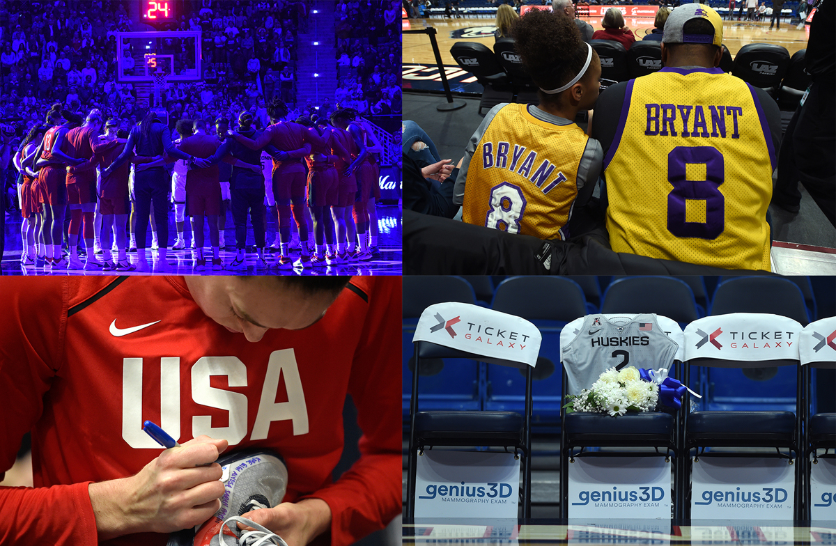 Kobe Bryant, Gianna Bryant, and others who died in a helicopter crash Sunday were honored in different ways during an exhibition game between the US women's national basketball team and UConn.