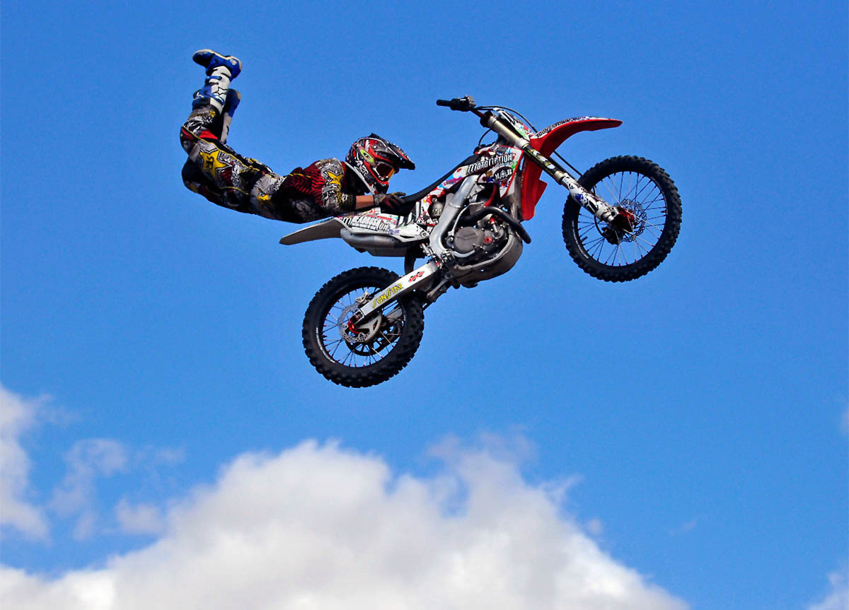 Springfield, MA - 09/15/12 Ben Veyna, of Las Vegas, NV, competes in the motocross freestyle competition at the Big E in Springfield, MA Saturday. - BRAD HORRIGAN | bhorrigan@courant.com