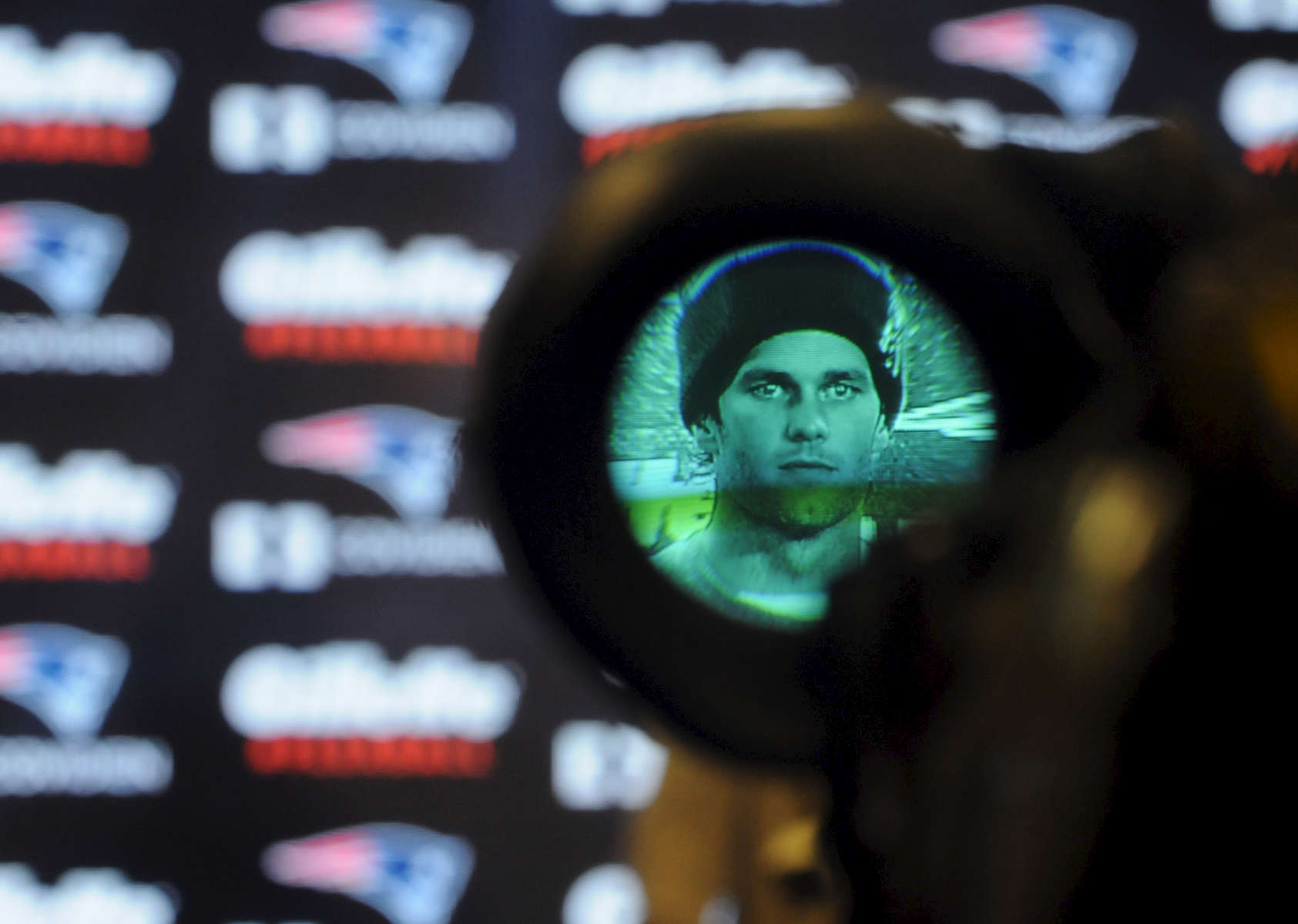 New England Patriots quarterback Tom Brady speaks to the media at a press conference at Gillette Stadium Thursday. The press conference centered around the fact that 11 of 12 Patriot game balls were under-inflated according to NFL rules during the first half of Sunday's AFC Championship victory over the Colts.