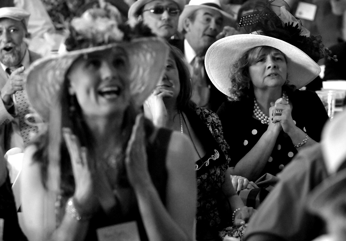Yvonne Whiten, of West Hartford, right, is among those watching the Kentucky Derby at Folly Farm for Ron's Run for the Roses. The was for the Ron Foley Foundation to benefit pancreatic cancer research.