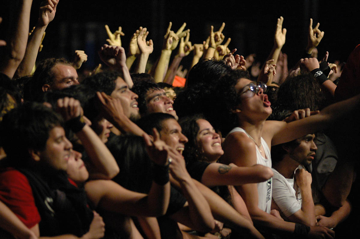 Fans get into it during a Dream Theater concert.