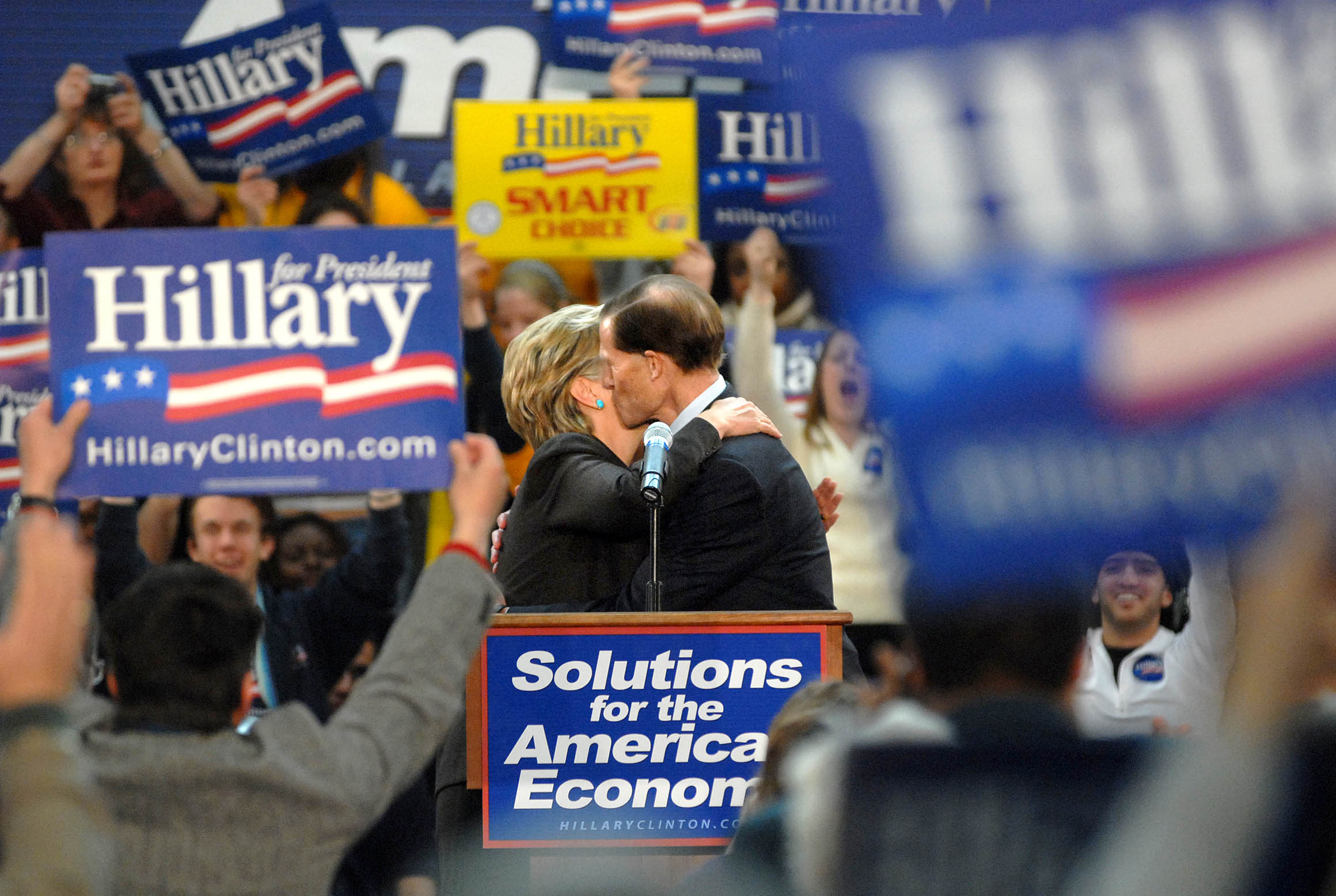 Connecticut Attorney General Richard Blumenthal, center right, embraces then-Sen. Hillary Clinton at a rally in Hartford during her bid for the Democratic presidential nomination in 2008.