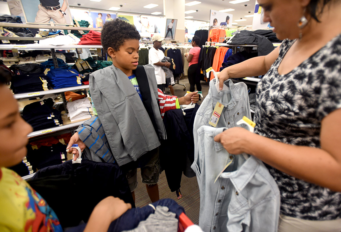 Allen and his mother shop for school clothes at Target in downtown Brooklyn.
