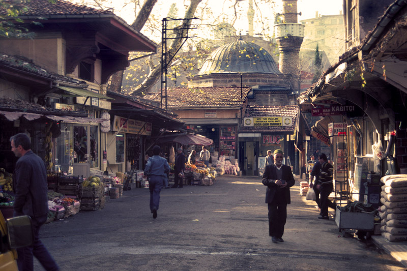Early morning street scene in Bursa, Turkey.