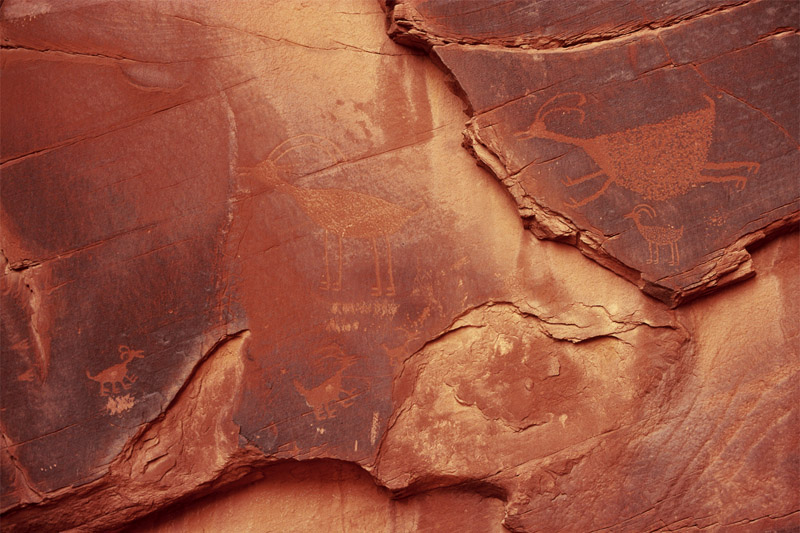 Petroglyphs, the enigmatic artwork left behind by the Anasazi. Utah.