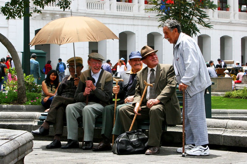 The usual crowd reassembles in Plaza de la Independencia in Quito, Ecuador.
