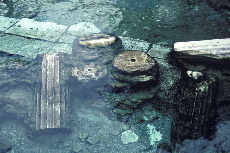 Submerged fragments of the spa built by the Romans at this location to take advantage of the natural-flowing hot springs. Hierapolis, Turkey.