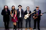 Jim James, Rhiannon Giddens, Marcus Mumford, Taylor Goldsmith and Elvis Costello (L to R)- pose for a portrait in promotion of {quote}Lost on the River: The New Basement Tapes,{quote} an album produced by T Bone Burnett and created by the musicians using lyrics written by Bob Dylan for the legendary {quote}basement tapes{quote} recordings, on Sunday, Nov. 9, 2014 in New York. (Photo by Drew Gurian/Invision/AP)