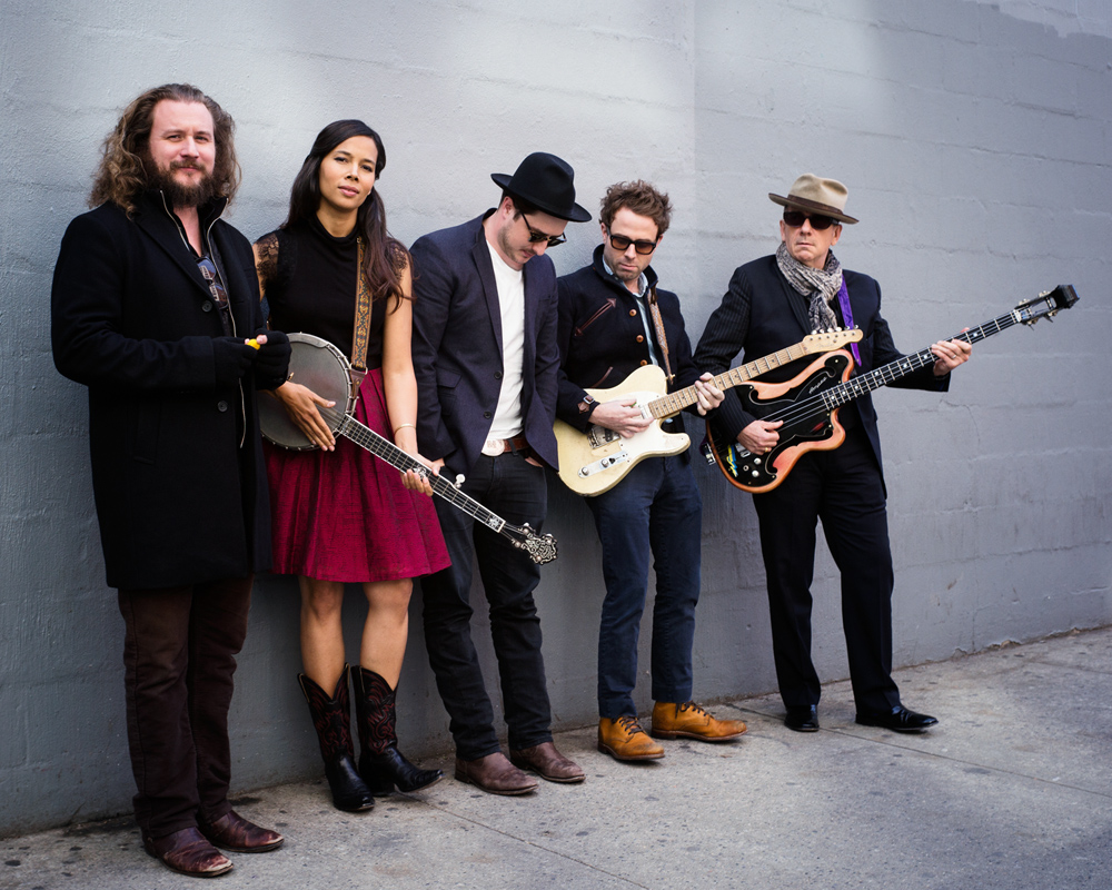 Jim James, Rhiannon Giddens, Marcus Mumford, Taylor Goldsmith and Elvis Costello (L to R)- pose for a portrait in promotion of