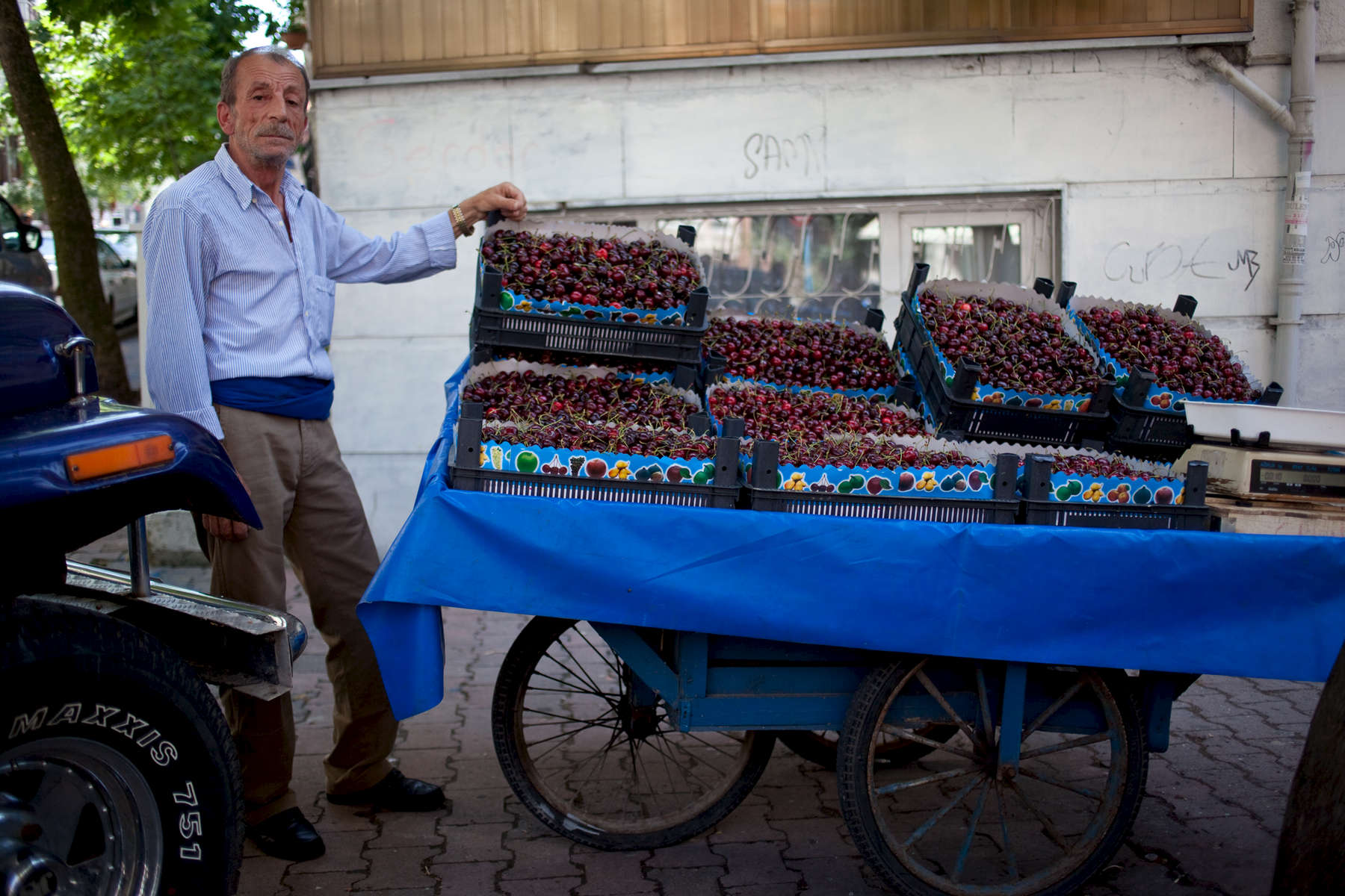 A cherry vendor in Acıbadem.