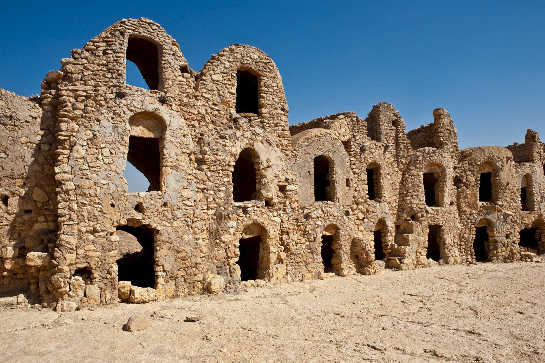 Ksar Joumaa, a medieval Berber hill-top fortress town.  Near Tatouine.