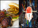 Tex Drive In's Hawaiian Burger with homemade taro chips in Honokaa, HI.  Island Snow's rainbow shaved ice in Kailua, HI.