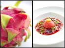 Locally grown dragon fruit for the Four Seasons Maui.  The watermelon and octopus dish at Chef Mavro in Honolulu.