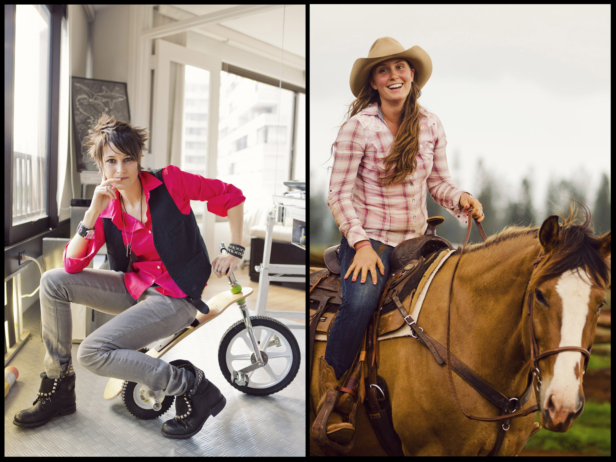 Artist Melissa Rivera in her Honolulu studio.  Photo for Modern Luxury Hawaii.  Cowgirl at the Lanai Stables.