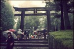 Visitors entering the Toshogu Shrine in Nikko, Japan.