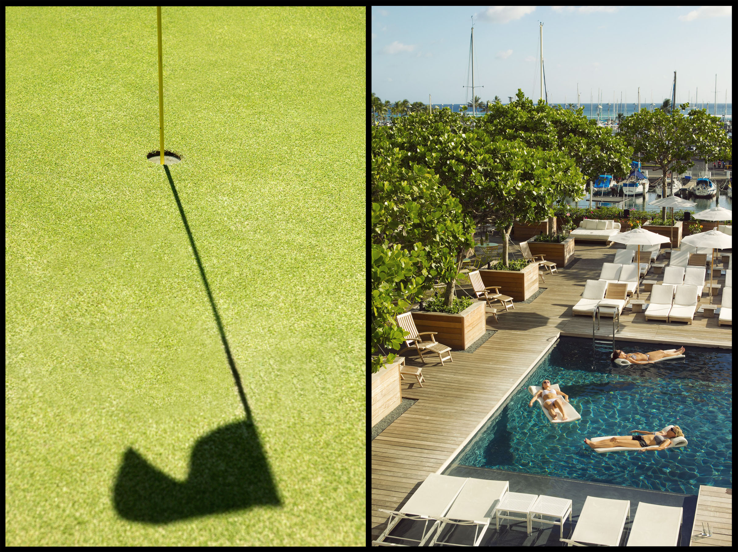 Golf on the Big Island.  Relaxing in the pool at the Modern Honolulu for the The New York Times.