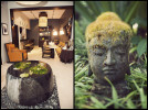 The lobby inside Hotel Renew in Waikiki.  A statute of Buddha in the garden at Holualoa Inn on the Big Island.