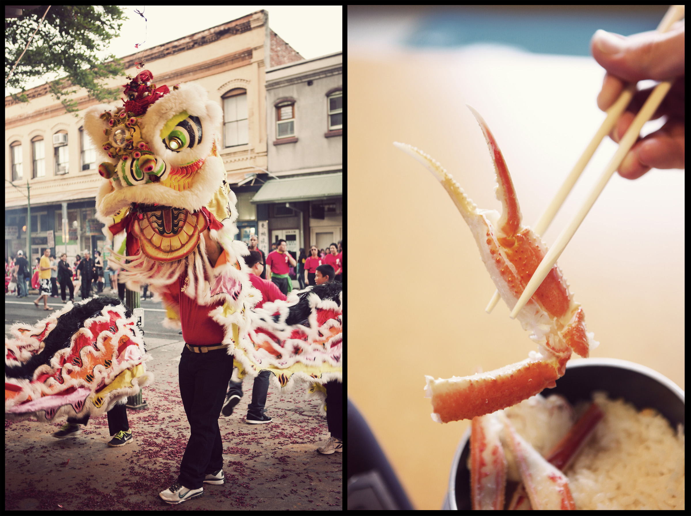 A Chinese lion dance takes place during Chinese New Years in Honolulu.  Crab at Kani Doraku in Osaka, Japan.