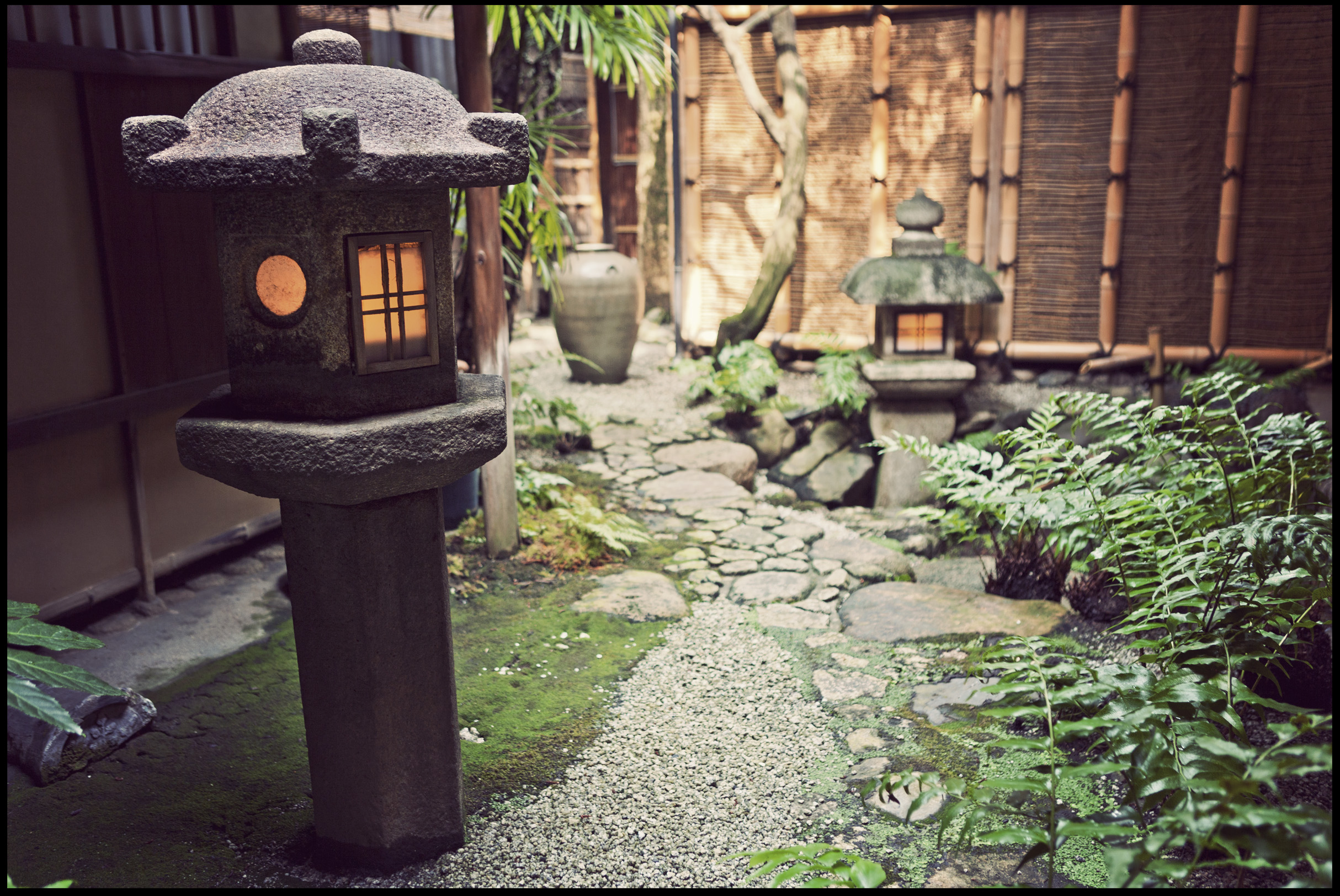 The garden at Yoshikawa Inn in Kyoto, Japan.