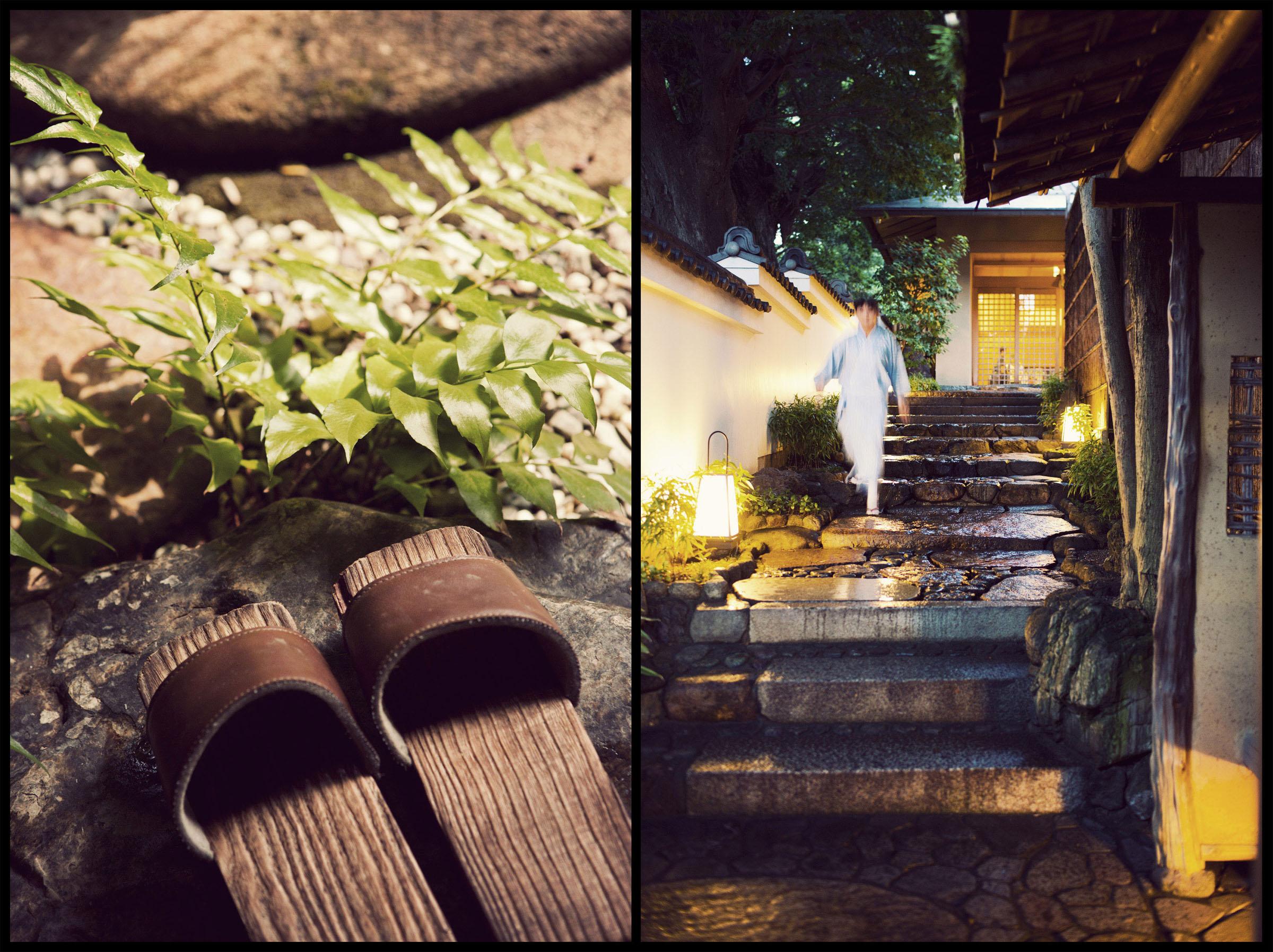 A garden view at the Yoshikawa Inn in Kyoto, Japan.  The entrance to the Gion Hatanaka Ryokan in Kyoto, Japan.