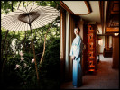 Left:  An umbrella at the Gio-ji nunnery in Kyoto.Right:  The attendant inside the suite at the Imperial Hotel in Tokyo.