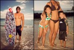 Surfer Clay Marzo, left, Maui. Mother with kids.  Waikiki.