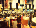 Draft beer being poured in a Tokyo bar.