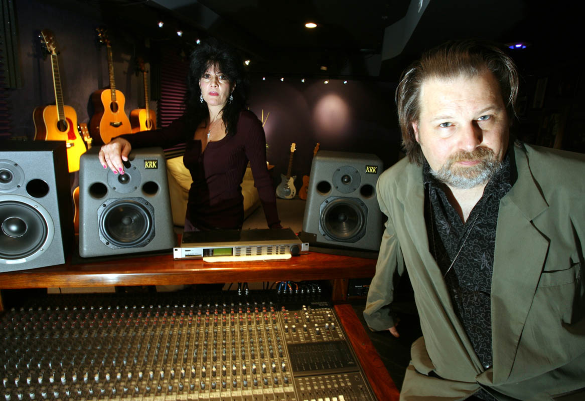 Lucy Clark and Bob Harris, co-creators of Jersey Bada Bing Christmas, at their recording studio in Bridgewater, New Jersey