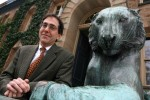 Portrait of Chris Eisgruber, Princeton University Provost, outside Nassau Hall at the University in Princeton, New Jersey