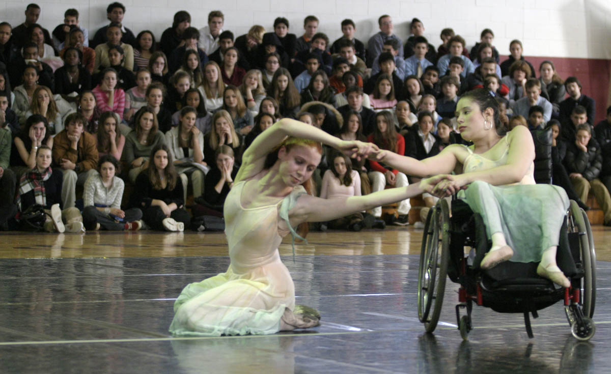 Shaleena Tomassini(right), dances with Sharon Rudda during a performance with the Roxey Ballet, at Rutgers Preparatory School in Franklin Township, New Jersey