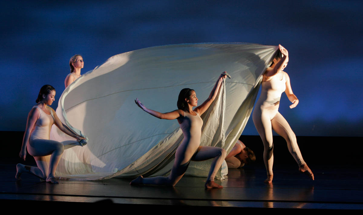 Dancers perform {quote}Soaring{quote} during a performance to honor the late modern dance pioneer Ruth St. Denis, at Somerset County Vo-Tech in Bridgewater, New Jersey