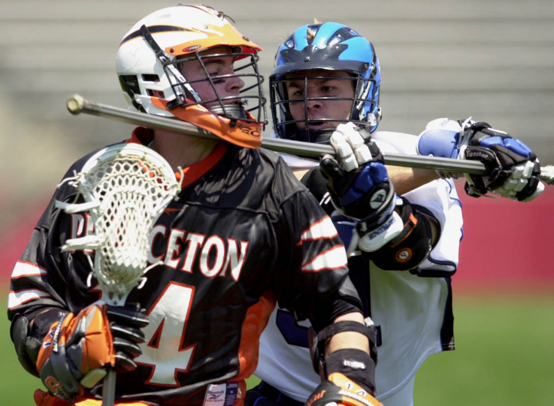 Classic battle between Johns Hopkins and Princeton in the NCAA Division I Men's Lacrosse Championships at Rutgers Stadium in Piscataway, New Jersey.