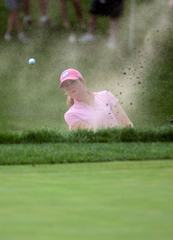 Paula Creamer hits out of a sand trap on the 16th hole during her victory over Karrie Webb in the HSBC Women's World Match Play Championships at Hamilton Farms Golf Club in Gladstone, New Jersey