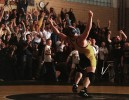 Adam Schumacher of Delaware Valley High School celebrates his victory over Tim Jones of North Hunterdon High School in Clinton, New Jersey.