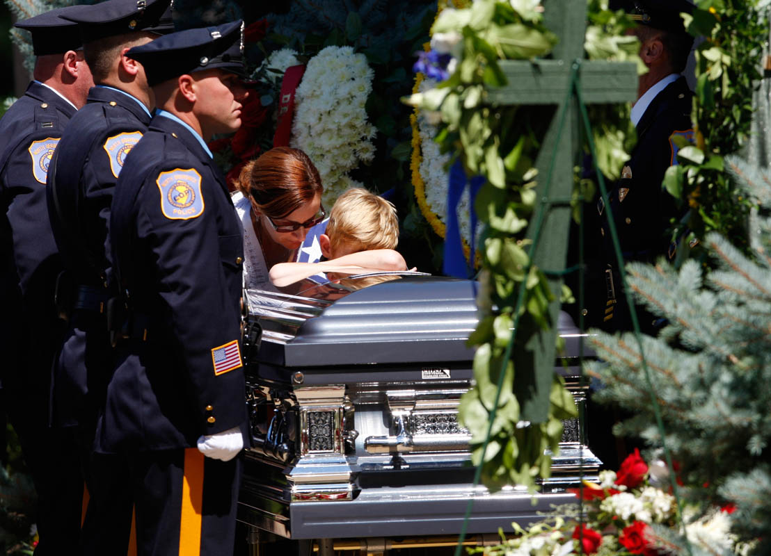 Poice officer's funeral at Franklin Memorial Park in North Brunswick, New Jersey