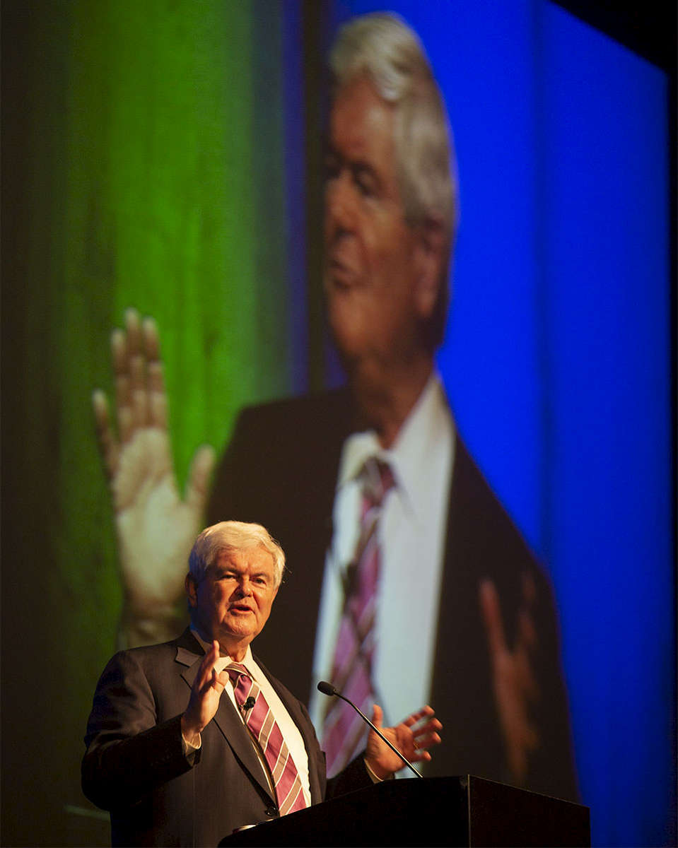 Newt Gingrich speaks at the Capital Health Neurosciences Conference, at Revel Casino in Atlantic City, NJ on 4/19/13.